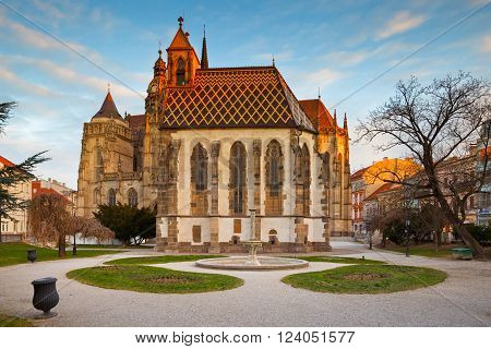 KOSICE, SLOVAKIA - MARCH 19, 2016: St. Michael chapel and St. Elisabeth cathedral in the main square of Kosice city in eastern Slovakia on March 19, 2016.