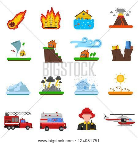 Natural disasters flat icons set with forest fire tsunami wave and earth quake symbols abstract isolated vector illustration