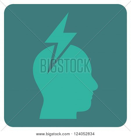 Headache vector pictogram. Image style is bicolor flat headache pictogram symbol drawn on a rounded square with cobalt and cyan colors.