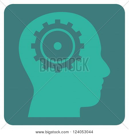 Intellect vector icon. Image style is bicolor flat intellect iconic symbol drawn on a rounded square with cobalt and cyan colors.