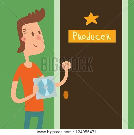 Young musician person and happy young artist musician. Young Musician boy with music CD knocking at the door to producer vector illustration.