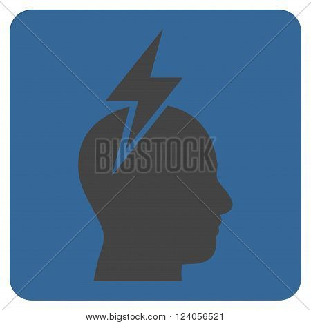 Headache vector symbol. Image style is bicolor flat headache iconic symbol drawn on a rounded square with cobalt and gray colors.