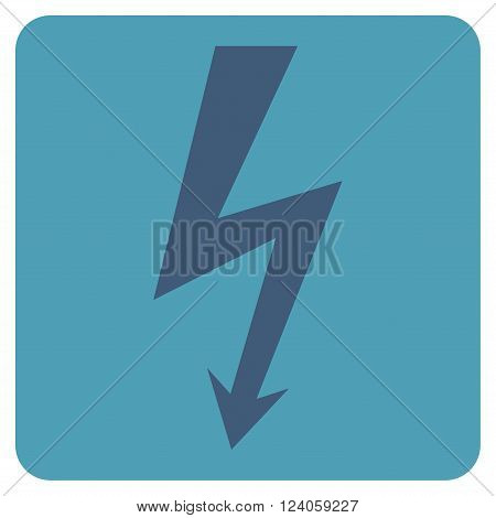 High Voltage vector pictogram. Image style is bicolor flat high voltage iconic symbol drawn on a rounded square with cyan and blue colors.