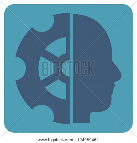 Intellect vector pictogram. Image style is bicolor flat intellect pictogram symbol drawn on a rounded square with cyan and blue colors.