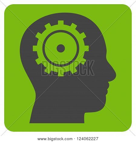Intellect vector pictogram. Image style is bicolor flat intellect iconic symbol drawn on a rounded square with eco green and gray colors.