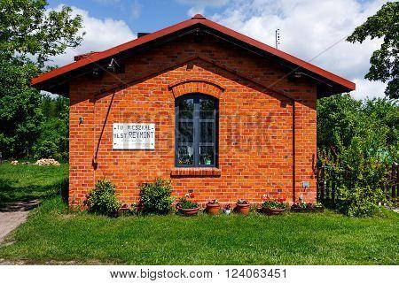 LIPCE, POLAND - MAY 17, 2015: Lineman House where Wladyslaw Reymont lived, famous Polish writer. Lipce Reymontowskie Village railways