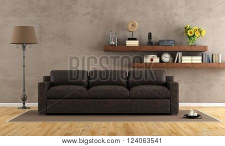Retro vintage living room with leather armchair and two gothic windows - 3D Rendering