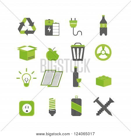 Recycling sorting nature icons, waste sorting environment recycling creative elements. Waste sorting recycling protection symbols. Ecology waste sorting and recycle icons vector illustration set.