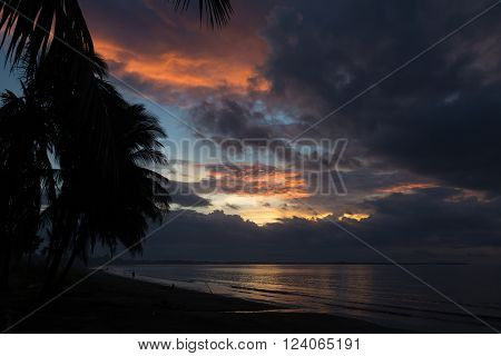Dramatic sunset on the ocean on background of palm trees. Pink clouds. Dusk. Fiji.