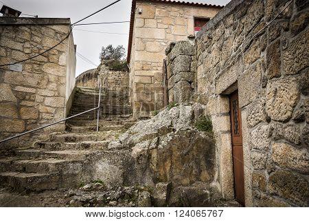 Castle staircase in Celorico da Beira town, Guarda, Portugal