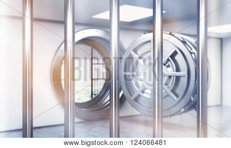 Open safe door behind bars. Concept of saving money. 3D rendering