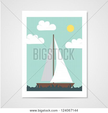 Poster with sailboat in the sea. Illustration in flat style