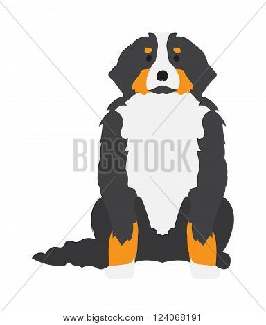 Flat dog pet and sitting cute dog vector. Flat dog animal pet vector illustration. Home cute sitting dog flat style. Dog vector silhouette isolated on white background