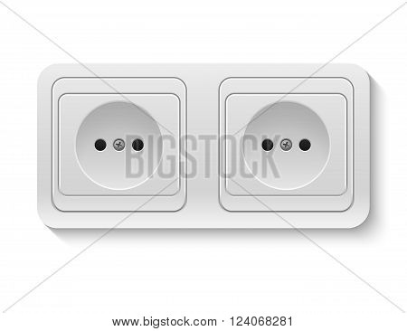 Realistic plastic whiteVector power socket isolated on white. Vector EPS10 illustration.
