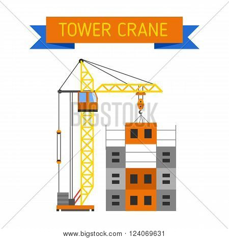 Crane urban house architecture and crane exterior house built. Construction crane lifts concrete slab construction house. Apartment block in construction with crane house industry structure vector.
