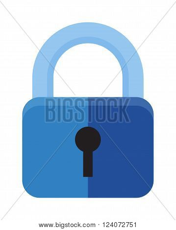 Protection security lock safety element and private shaped lock secure system. Flat lock with keyhole for safeguard. Vector illustration of security concept with locked blue combination pad flat lock.