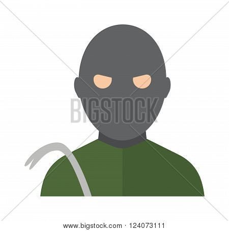Thief man dark bad avatar green shirt and thief man steel scrap. Avatar thief bad criminal man law mugger, housebreaking. Lawbreakers cracker. Thief man in the hood danger person in black mask vector.