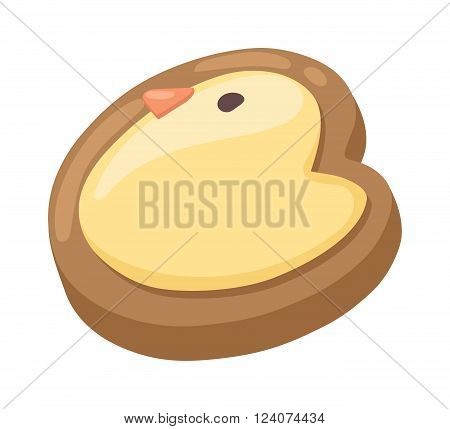 Vegetable chuck cake tasty delicious and chuck cake cream traditional decoration. Delicious cupcake beautiful appetizing chicken butter cream. Sweet homemade cake gourmet fresh dessert vector.