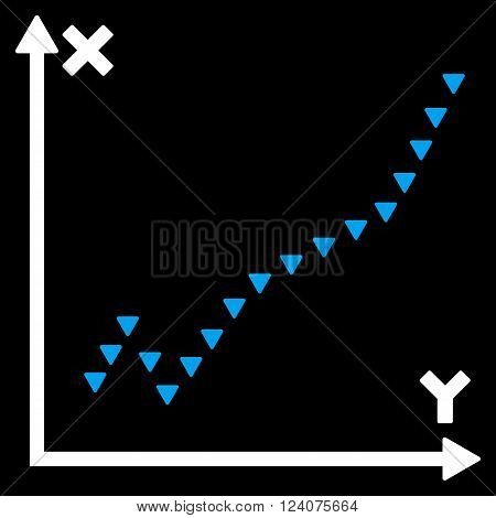 Dotted Function Plot vector icon.  Dotted Function Plot pictogram.