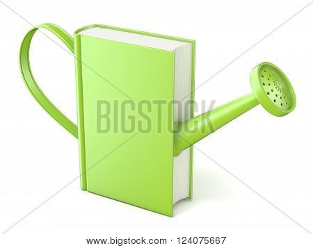 Green watering can book. Concept of education and knowledge. 3D render isolated white background