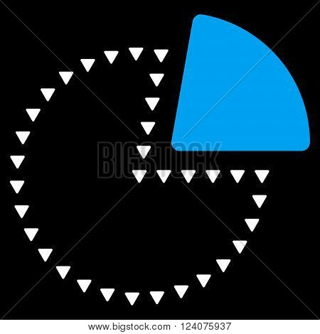 Dotted Pie Chart vector icon. Dotted Pie Chart icon symbol. Dotted Pie Chart icon image. Dotted Pie Chart icon picture. Dotted Pie Chart pictogram. Flat blue and white dotted pie chart icon.