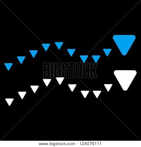 Dotted Trends vector icon. Dotted Trends icon symbol. Dotted Trends icon image. Dotted Trends icon picture. Dotted Trends pictogram. Flat blue and white dotted trends icon.