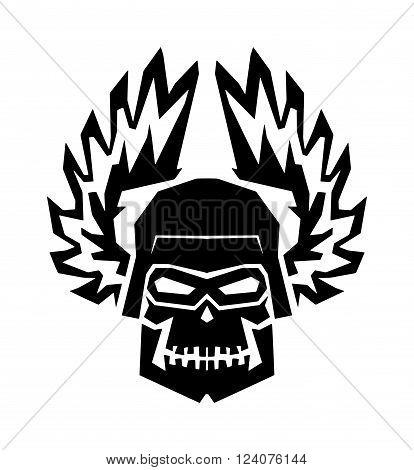 Black skull death skeleton horror and black skull danger scary art. Black skull face anatomy. Black skull graphic dark gothic in helmet wings. Winged black skull mask in helmet wings of fire vector.