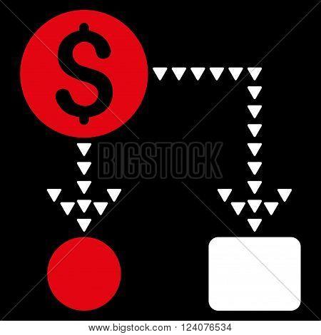 Cashflow Scheme vector icon. Cashflow Scheme icon symbol. Cashflow Scheme icon image. Cashflow Scheme icon picture. Cashflow Scheme pictogram. Flat red and white cashflow scheme icon.