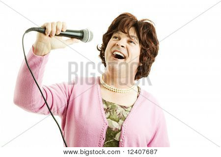Funny photo of a man dressed as a frumpy female singer.  Isolated on white.