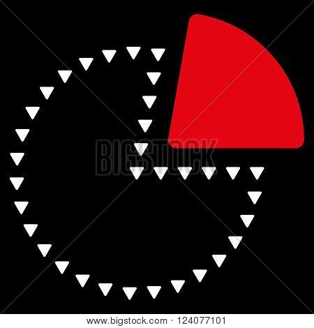 Dotted Pie Chart vector icon. Dotted Pie Chart icon symbol. Dotted Pie Chart icon image. Dotted Pie Chart icon picture. Dotted Pie Chart pictogram. Flat red and white dotted pie chart icon.