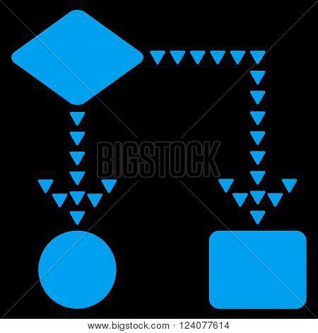 Algorithm Flowchart vector icon. Algorithm Flowchart icon symbol. Algorithm Flowchart icon image. Algorithm Flowchart icon picture. Algorithm Flowchart pictogram. Flat blue algorithm flowchart icon.