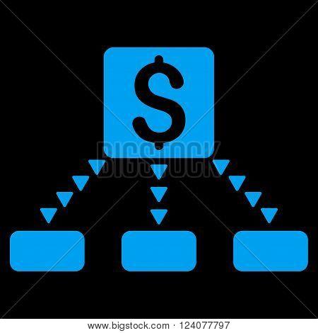 Cashout Scheme vector icon. Cashout Scheme icon symbol. Cashout Scheme icon image. Cashout Scheme icon picture. Cashout Scheme pictogram. Flat blue cashout scheme icon.