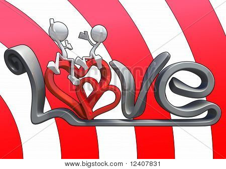 3D Characters Hugging On The Word Love.