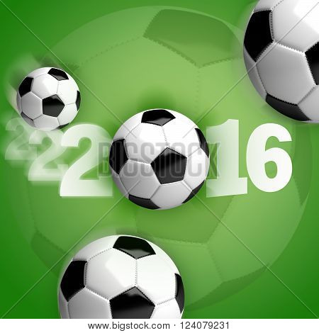 Soccer balls (footballs) in motion on a green background with white lettering