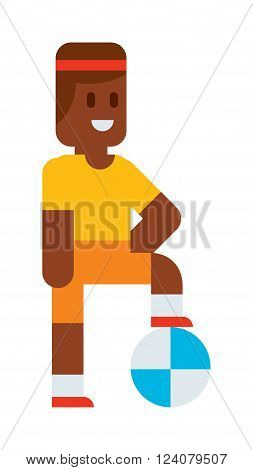 Funny cute vector boy playing with ball. Cartoon boy character, boy walking. Flat cute syle boy vector illustration. Soccer football player boy