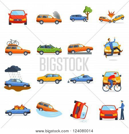 Accident road situation danger car crash and accident road collision safety emergency transport. Accident dangerous speed. Accident road on street damaged automobiles after collision car crash vector.