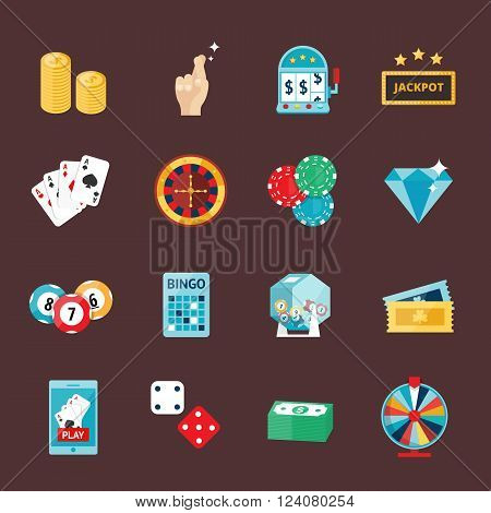Casino game icons poker gambler symbols and casino blackjack cards gambler money winning icons. Casino icons set with roulette gambler joker slot machine isolated vector icons illustration. Casino concept