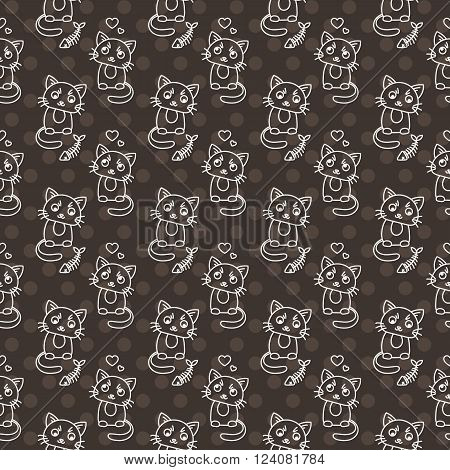 Seamless pattern of cute cat characters. Pet in love. Fishbone. Ornament for kids.