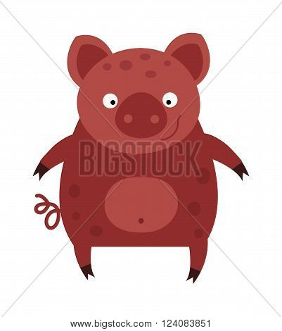 Cartoon pig character and mammal cartoon pig. Cartoon pig domestic fun por. Swine comic mascot adorable pig. Standing small nature cartoon pig. Happy smiling little baby cartoon pig animal farm vector