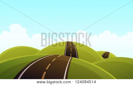 Cartoon illustration of the asphalt road over the hills.