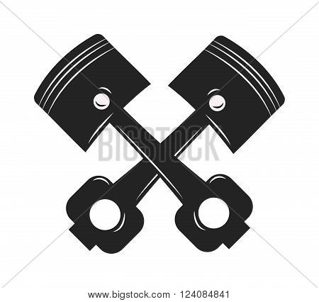 Metal motor automobile piston and steel machine transportation piston. Technology mechanic piston and repair equipment cylinder piston. Repair Service gear pistons auto emblem engine car vector.