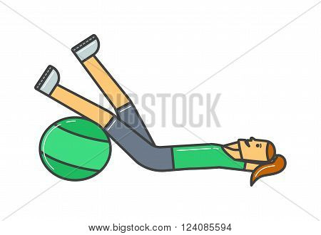Smiling girl exercising with fitball and girl healthy fitness. Girl fitness ball. Young girl fitness sport, training, park and lifestyle concept vector.