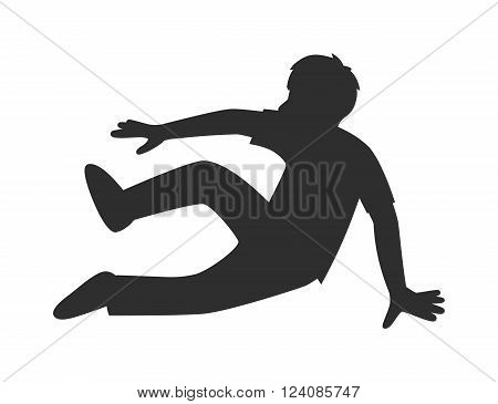 Parkour trick people jumping extreme sport black silhouette vector or city sport parkour trick people pose, parkour flat trick vector people jump, fall tricks.