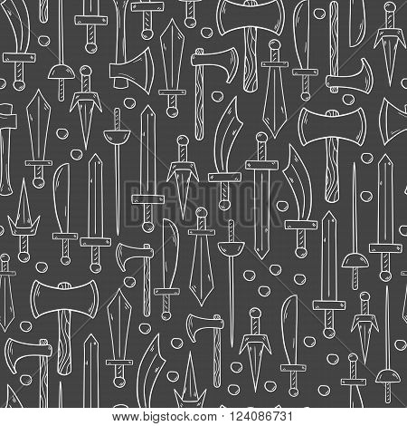Seeamless background with historical steel arms objects in cartoon hand drawn style. Vector objects on game weapon theme