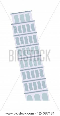 Leaning tower of Pisa landmark building and famous italian leaning tower of Pisa. Leaning tower of Pisa medieval culture tourist monument. Leaning Tower of Pisa architecture landmark building vector.