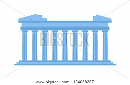 History ancient structure Greece and classical column ancient structure Greece. Stone archeology ancient structure vacation european tourism. Ancient old structure Greece entrance with columns vector.