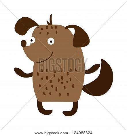 Cartoon cute dog happy and funny cartoon cute little dog. Cartoon cute dog domestic breed cheerful puppy. Cartoon cute dog comic sitting friend. Cute cartoon puppy dog animal pet character vector.