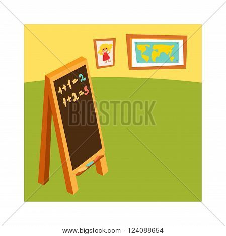 School class with chalkboard desks and school class for education, study, blackboard. Classroom without student school class with wooden furniture and green blackboard on brick-wall-rendering vector.