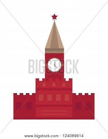Kremlin Moscow tower and Kremlin Russia building with star. Kremlin travel red square landmark and kremlin tourism clock famous monument. Spasskaya tower in Moscow, Russia flat design Kremlin vector.