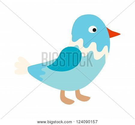 Blue bird nature animal and cute blue bird wing. Wild blue bird and cartoon bird blue funny character. Funny blue cute song bird. Vector little standing blue bird sparrow pointing with its wing